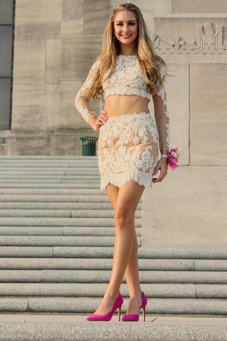 two piece homecoming dresses,long sleeves homecoming dresses,lace homecoming dresses,short prom dresses 2017