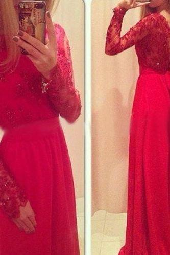 High Quality Prom Dress,Charming Prom Dress,Long Sleeve Prom Dress,Lace Prom Dress,A-Line Prom Dress