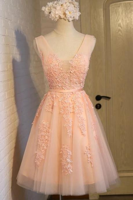 lace appliques bridesmaid dress,coral bridesmaid dress,women's party dress,short homecoming dress,short prom gowns