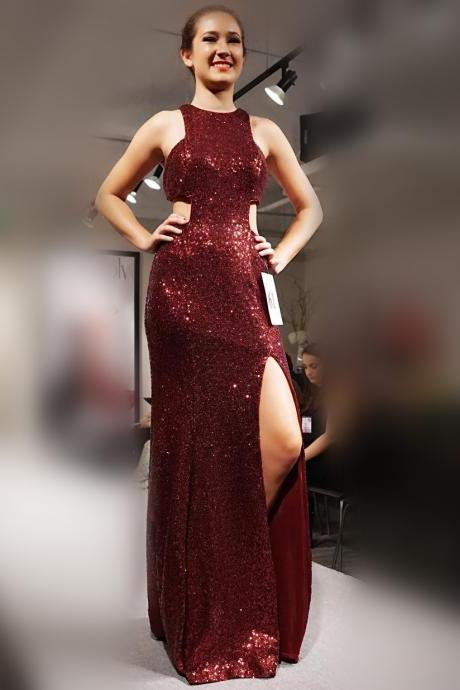 halter prom dresses,long sequin gowns,mermaid prom gowns 2017,slit evening dress,sexy long formal dress