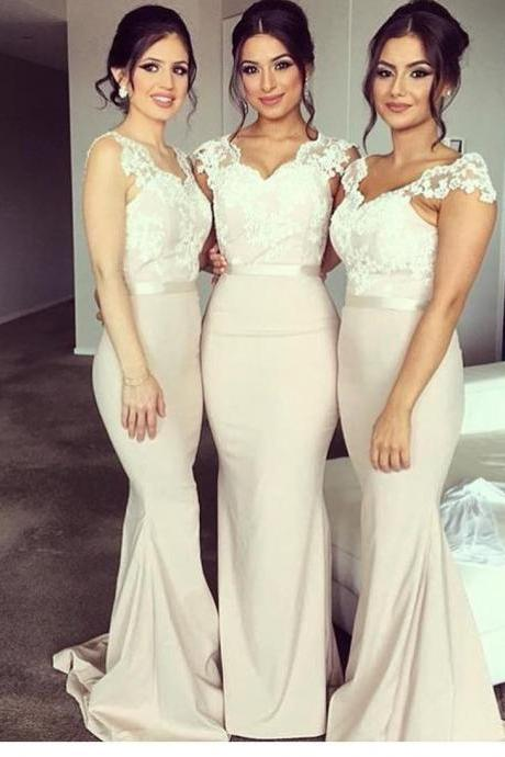 lace cap sleeves v neck long mermaid bridesmaid dresses,elegant formal dress