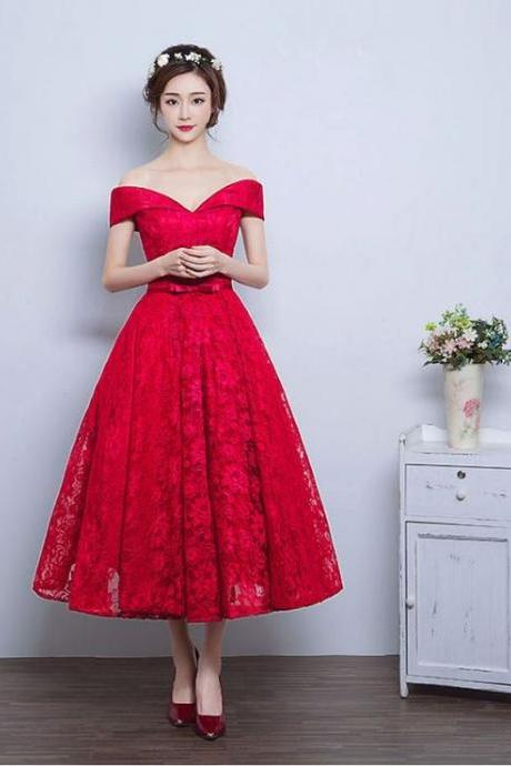 2017 Custom Made Red Lace Prom Dress,Sexy Off The Shoulder Evening Dress, Ankle Length Evening Dress,Sleeveless Party Dress