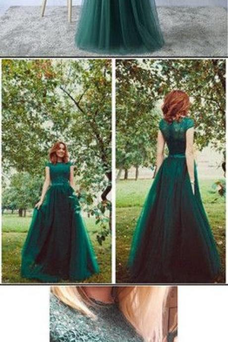 Sexy Prom Gowns,Green Prom Dress,Tulle Prom Dresses ,Long Evening Dress,Green Formal Dress
