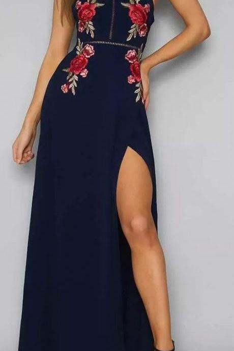 2017 High Quality Black Prom Dress,Fashion Embroidery Evening Dress,Sexy Halter and Side Slit Party Dress.