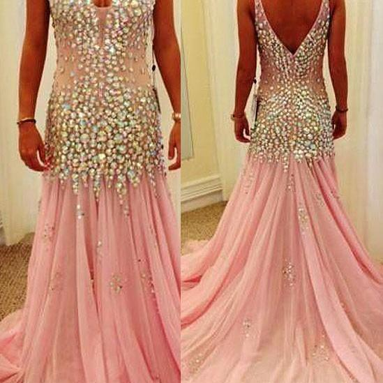 Mermaid Prom Dresses,V-neck Prom Dresses,Crystals Prom Dresses,Pink Prom Dresses,Tulle Formal Gowns with Crystals,Mermaid Party Dresses,Crystals Homecoming Dresses,V-neck Graduation Dresses