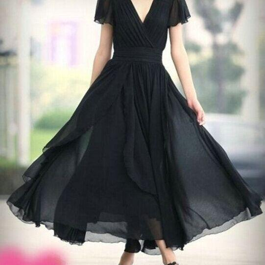 Ankle length short sleeves v neckline bridesmaid dress on for Ankle length wedding dress with sleeves