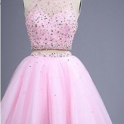 2016 Custom Homecoming dresses,Sexy Backless Prom dresses, 2 pieces pink Homecoming dresses, Beaded short Evening dresses, sexy Homecoming dresses