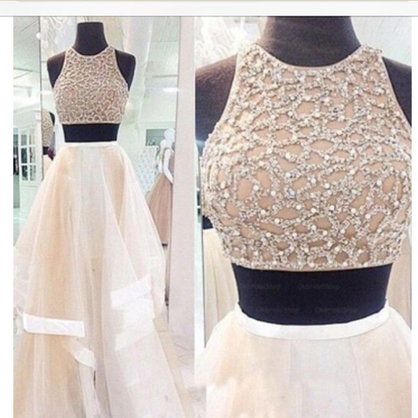 2016 Most Popular 2 pieces Prom Dress, Beading Long Prom Dress, Sexy A-line Prom Dress, dresses for prom