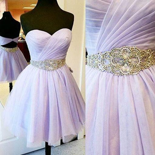 Charming Empire Homecoming Dress, Beading Waistband Prom Dress,Lavender Short Homecoming Dress