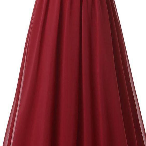 Floor Length Chiffon Prom Gowns with Applique ,Sweetheart Neck Prom Dress,Long Burgundy Prom Dress