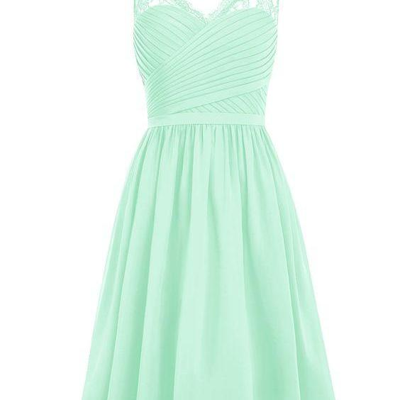 Short Homecoming Dress, V-neck Ruched Chiffon Bridesmaid /Prom Dress