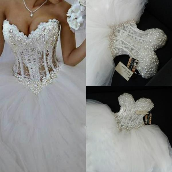 Luxurious Bling Strapless Wedding Dresses,Corset Bodice Sheer Bridal Dress,Crystal Pearl Beads Rhinestones Tulle Wedding Gowns Wedding Dress