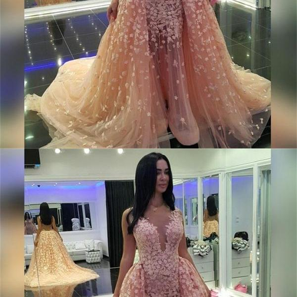 Appliques Tulle Prom Dress,Long Prom Dresses,Charming Prom Dresses,Evening Dress, Prom Gowns, Formal Women Dress,prom dress