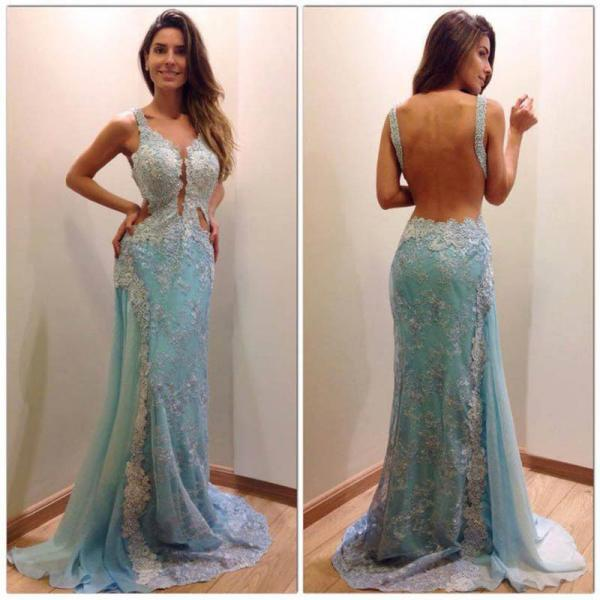 Long prom dress, blue prom dress, backless prom dress, lace prom dress, sexy prom dress, unique prom dress, juniors prom dress, evening dress