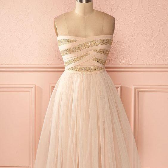 2017 Custom Made Pink Chiffon Prom Dress,Sexy Strapless Evening Dress,Mini Beading Evening Dress,Sleeveless Party Dress