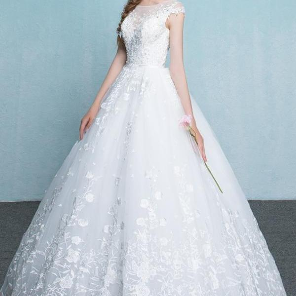 Ball Gowns Long A-line Wedding Dresses,Lace Up Cap Sleeves Wedding Gowns,Charming Elegant Lace Bridal Dresses,Beautiful Bridal Gowns