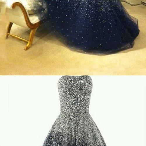 2017 Custom Made Best Ball Gown Strapless Floor Length Tulle Navy Blue Prom/Evening Dress with Beading